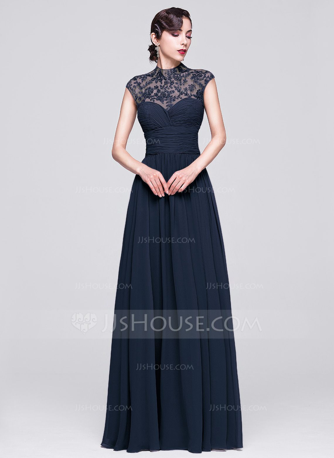 330b60be2c A-Line/Princess High Neck Floor-Length Ruffle Beading Appliques Lace  Sequins Zipper Up Cap Straps Sleeveless No Dark Navy Spring Summer Fall  General Plus ...
