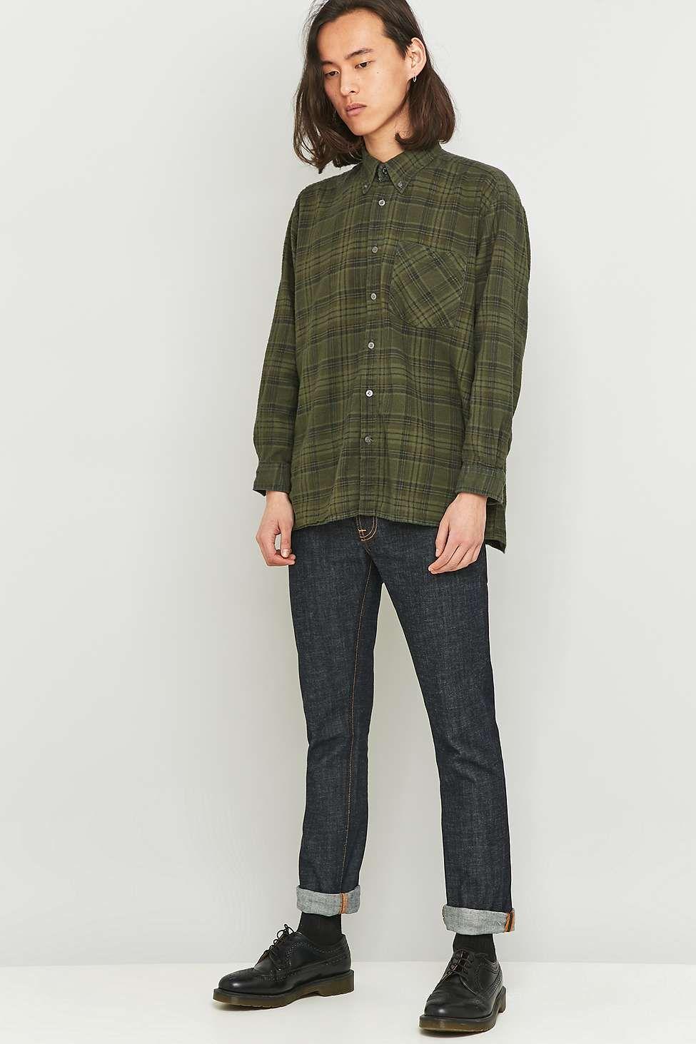 Flannel shirt vintage  Urban Renewal Vintage Customised Olive Flannel Shirt  Urban renewal