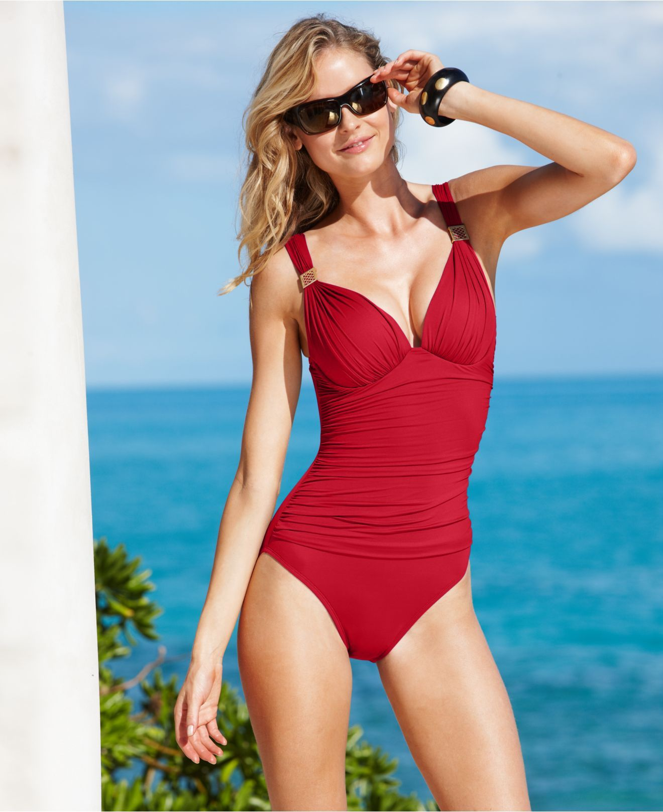 eb06eb6a3d4fb La Blanca Swimsuit, Over The Shoulder Hardware Push Up One Piece with Tummy  Control - Womens Swim - Macy's