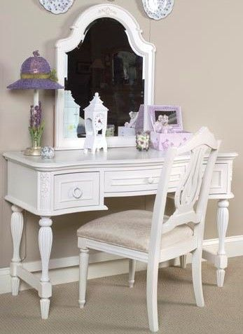 Reflections Vanity Table Mirror Chair In Antique Off White