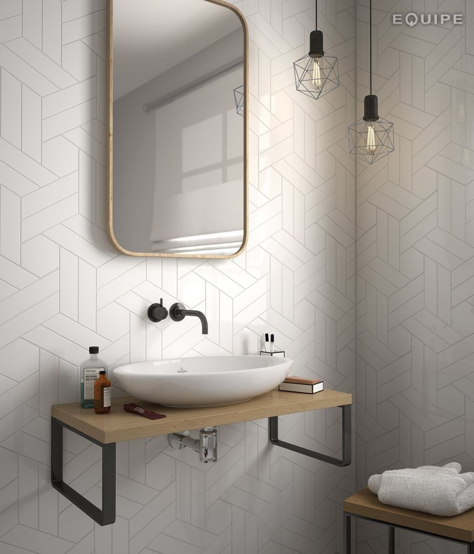 Gentil Herringbone Bathroom Wall Tile White Hexagon Mix White