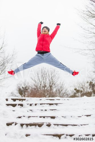 Woman wearing sportswear exercising outside during winter , #affiliate, #wearing, #Woman, #sportswear, #winter, #exercising #Ad