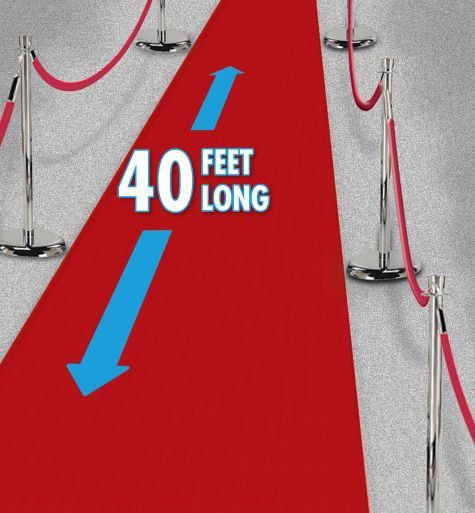 """Red Carpet Runner 40ft - Party City ****would love to have a """"green carpet"""" for guests to enter on****"""