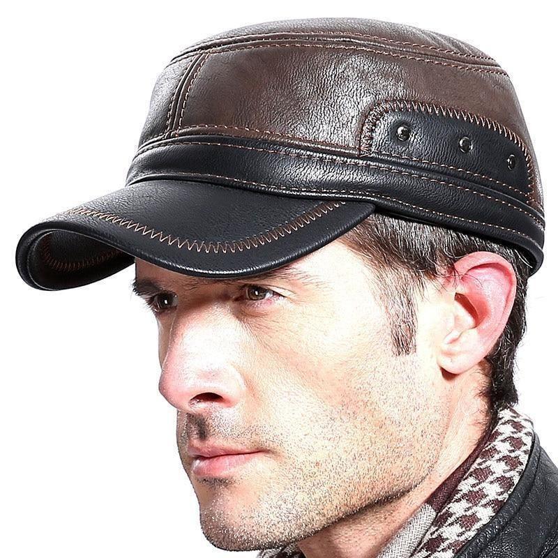 MARQUE en peau de mouton en Cuir Noir Baseball ball Cap Hat Biker Trucker Sports Visière