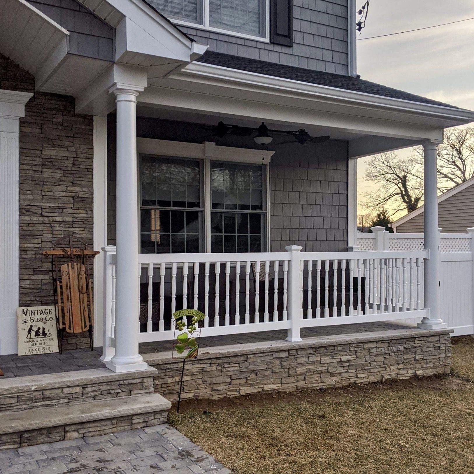 36 Pvc Spindle Rails On Front Porch In 2020 Front Porch Columns Porch Columns White Porch