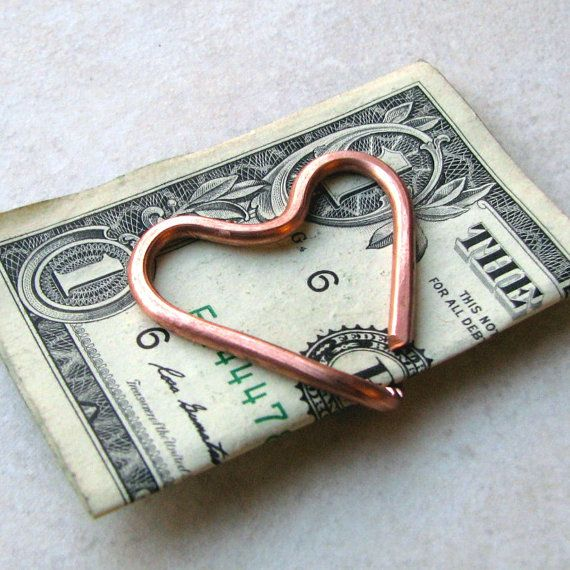 Heart shaped money clip copper wire money holder business card items similar to heart shaped money clip copper wire money holder business card holder on etsy colourmoves