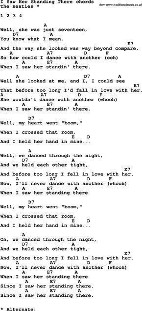Song Lyrics with guitar chords for I Saw Her Standing There ...