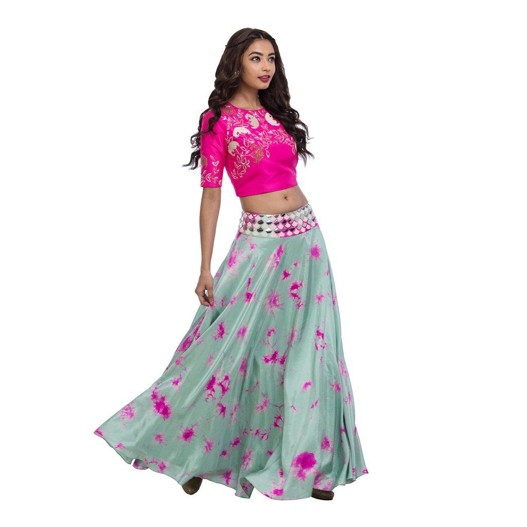 931e7ffad3812 Pink   Mint Crop Top   Lehengas - Full length skirts in 100 percent silk