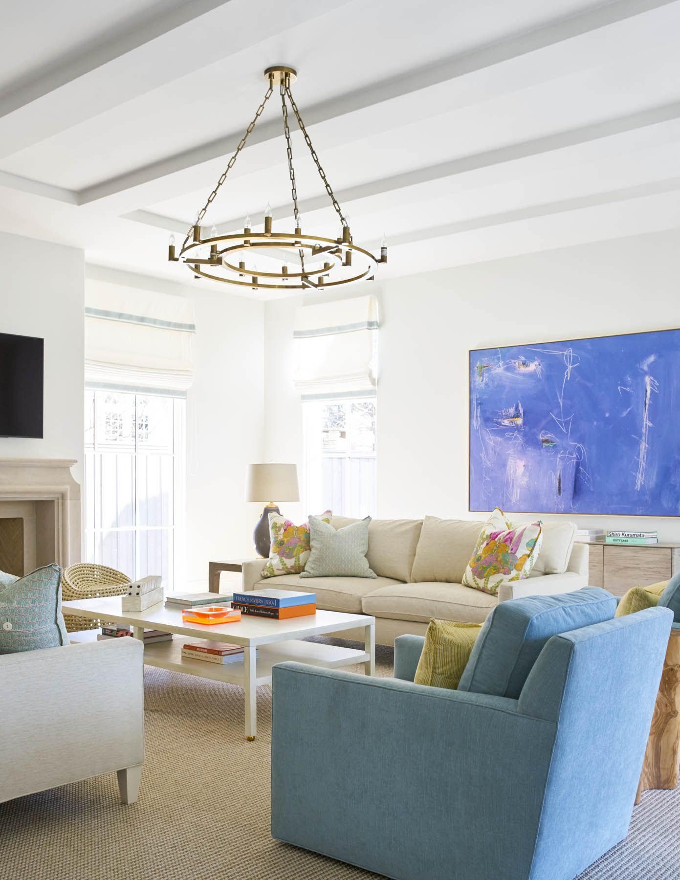 Light Bright And Colorful Great Room Interior Design By Jenkins Interiors Home Accessories From Blue Print Blueprint