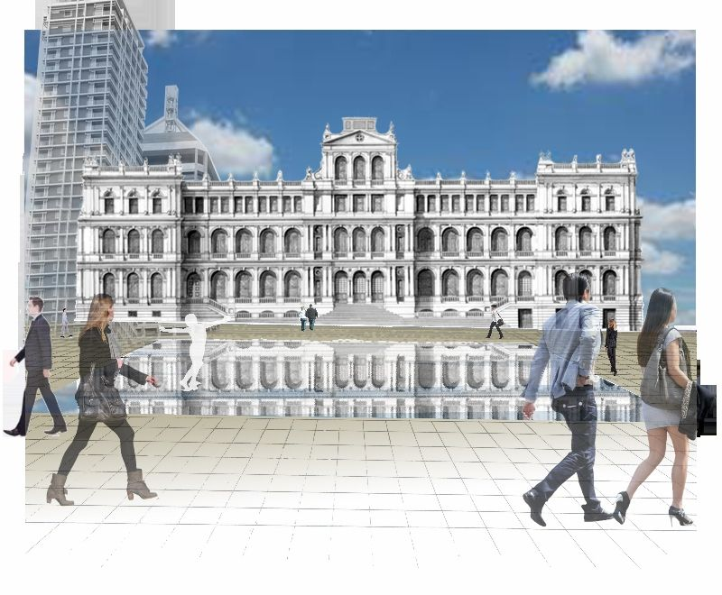 Picture by Debbie Turner for Brisbane CBD project. View of Mirror Pool in front of Treasury Building. 30 Oct 2013