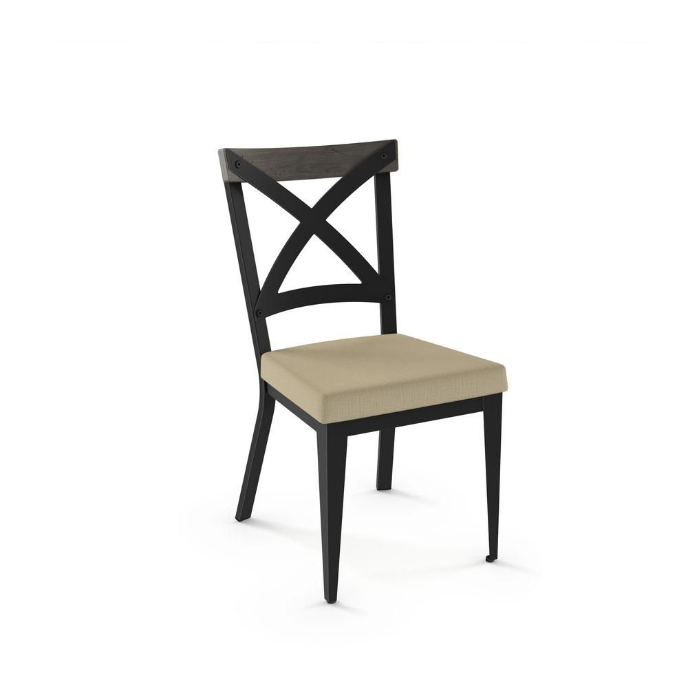 Excellent Amisco Industustries Snyder Black Metal Beige Cushion Light Bralicious Painted Fabric Chair Ideas Braliciousco