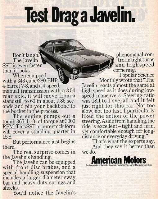 1968 Amc Javlin Sst Muscle Car Ads Amc Javelin American Motors