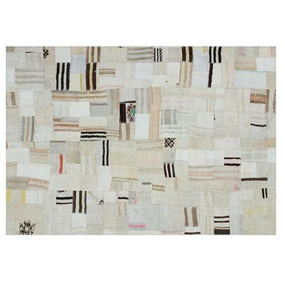 Bespoky Vintage Rugs One-of-a-Kind Patchwork Hand-Knotted 5.3' x 7.6' Wool/Cotton Cream/Black Area Rug | Perigold