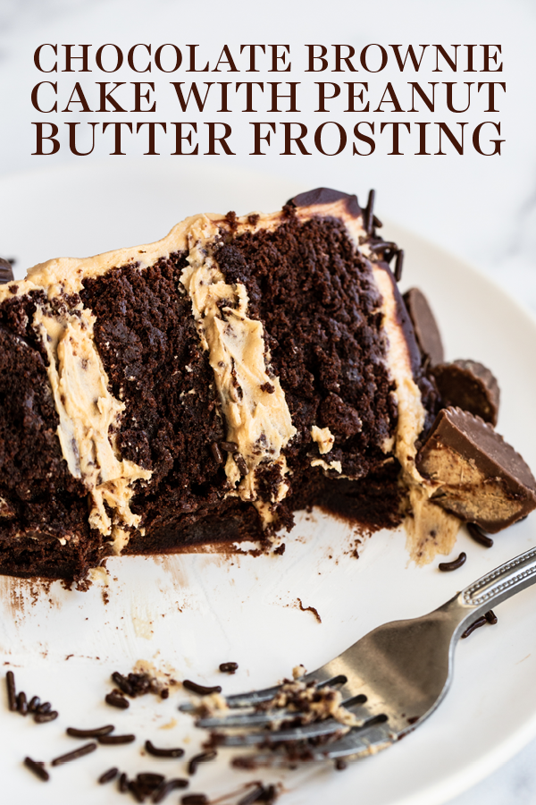 Chocolate Brownie Cake with Peanut Butter Frosting