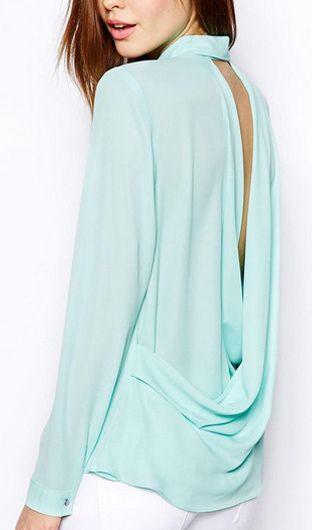 Mint drape back blouse