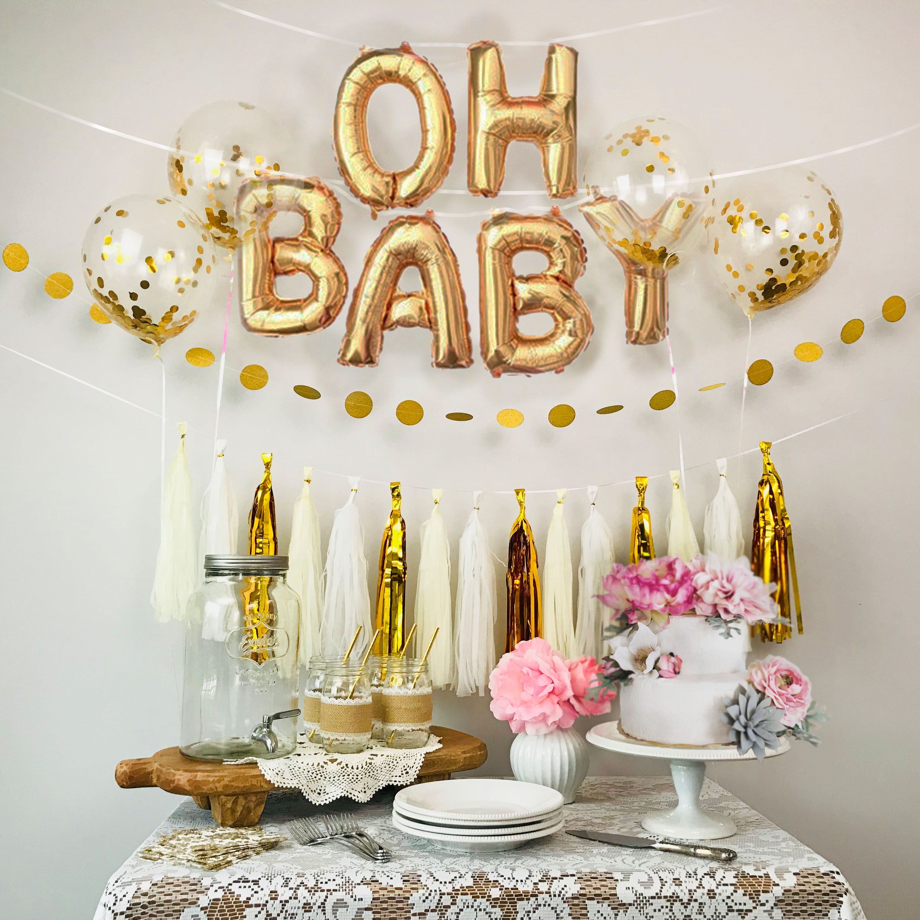 Baby Shower Decorations Gold White Oh Baby Foil Balloons Confetti Balloons Dot Garla Baby Reveal Party Decorations Confetti Balloons Balloon Tassel Garland