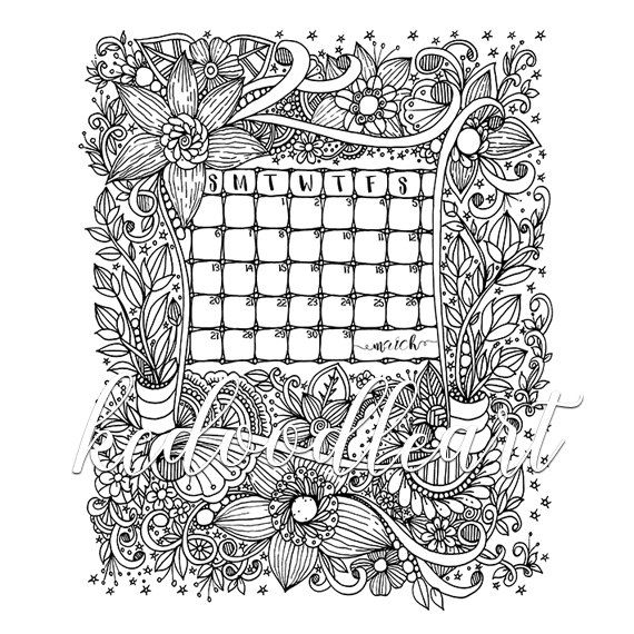 Instant Digital Download Coloring Page March 2016 Calendar