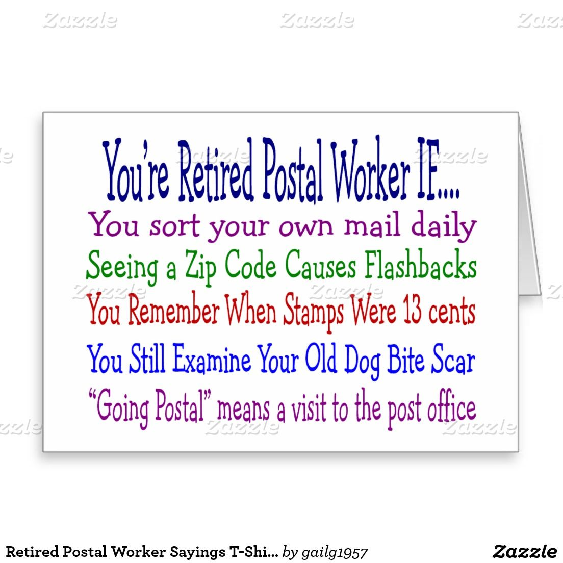 Retired Postal Worker Sayings T Shirts Gifts Card Zazzle Com