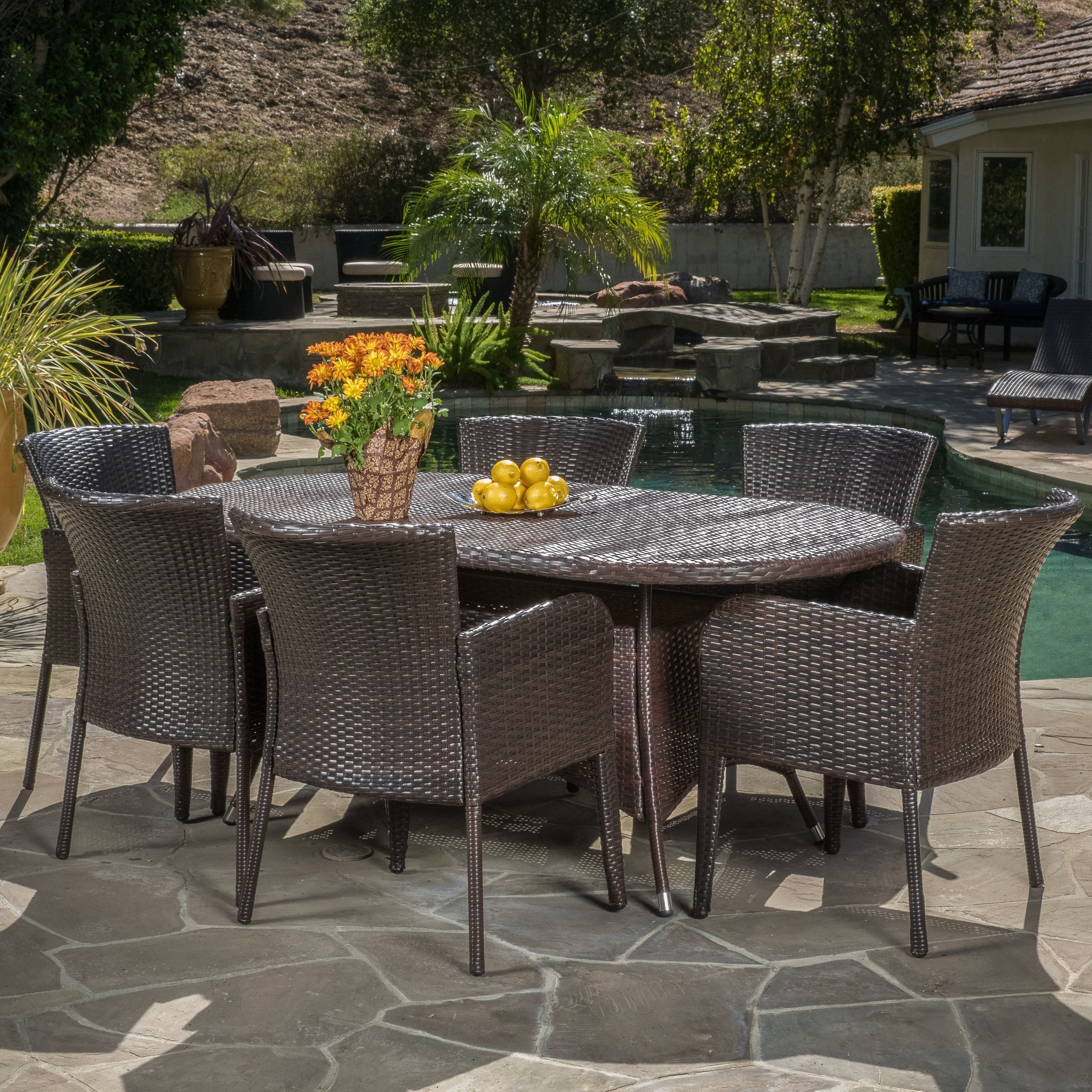 Corsica Outdoor 7-piece Wicker Dining Set by Christopher Knight Home (Multi-Brown), Brown, Size 7-Piece Sets, Patio Furniture (Iron)