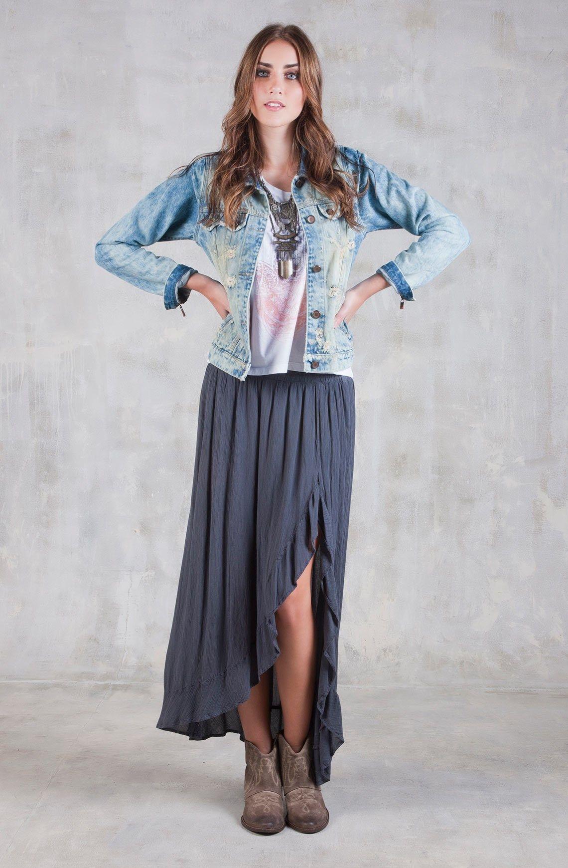 Falda femenina larga fondo entero 580b380ce4bf
