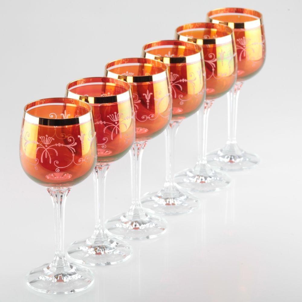 Weingläser Rot 6 rote weingläser weißweingläser rot gold goldrand gravur