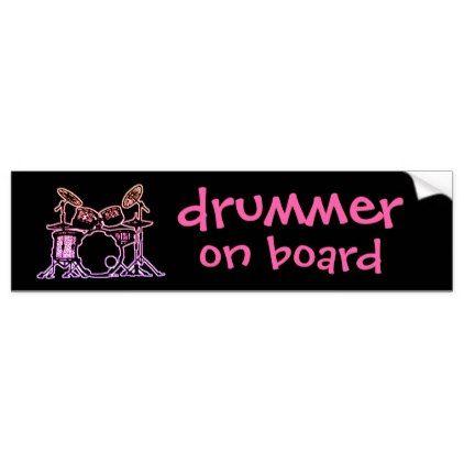 Drummer on board bumper sticker drum band