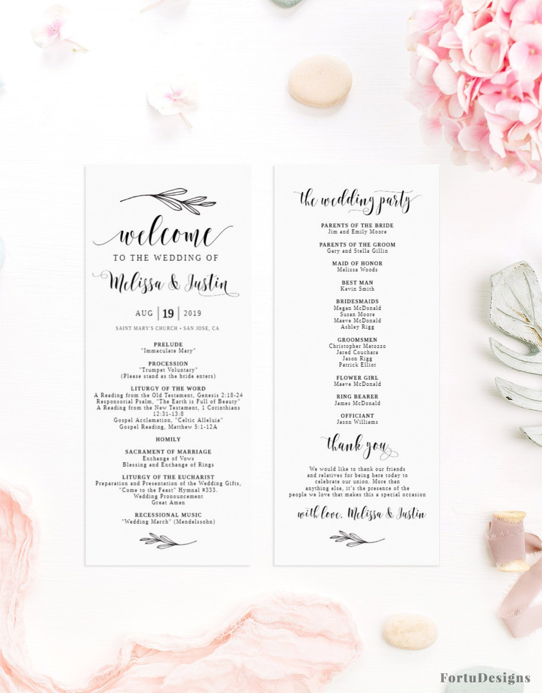 Catholic Wedding Program Template Rustic Wedding Ceremony