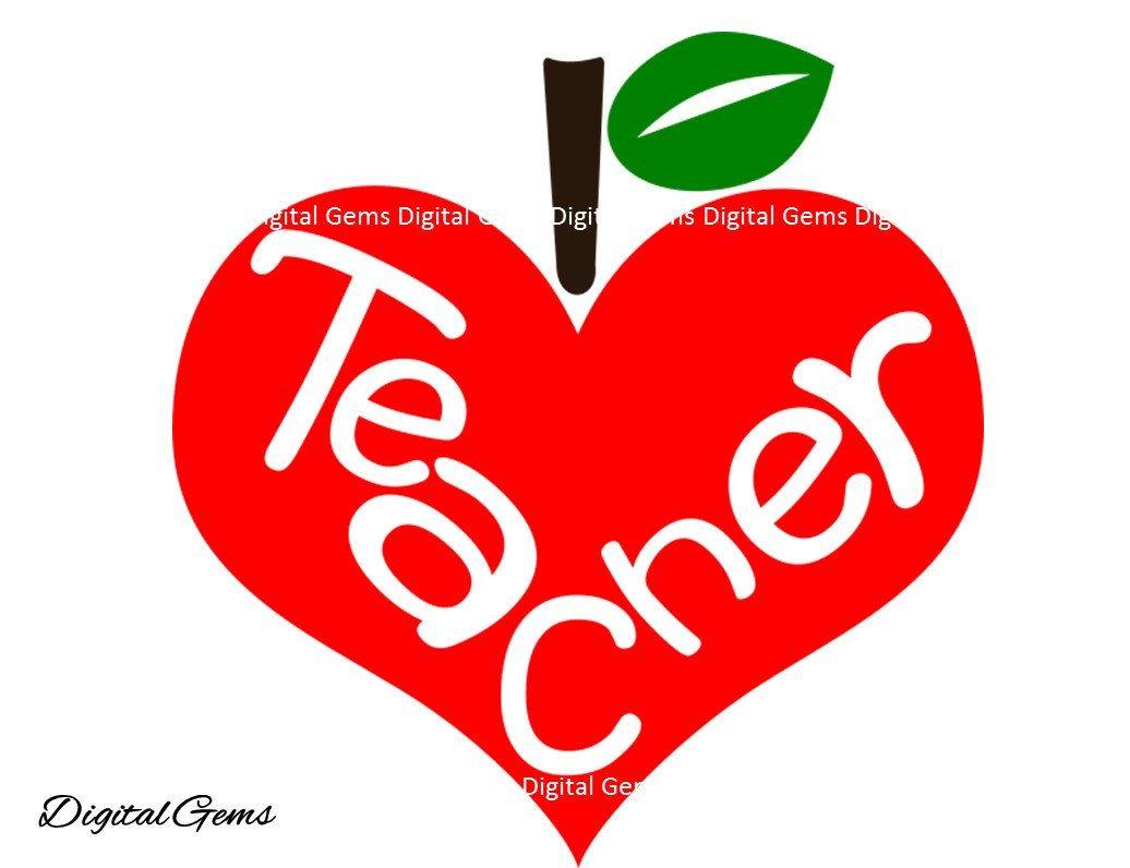 Teacher apple svg / dxf / eps / png files. Digital ...
