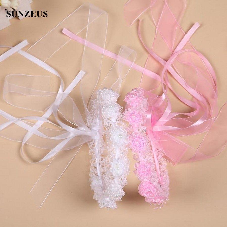 Girl veils beautiful pearls lace flowers garland children hair