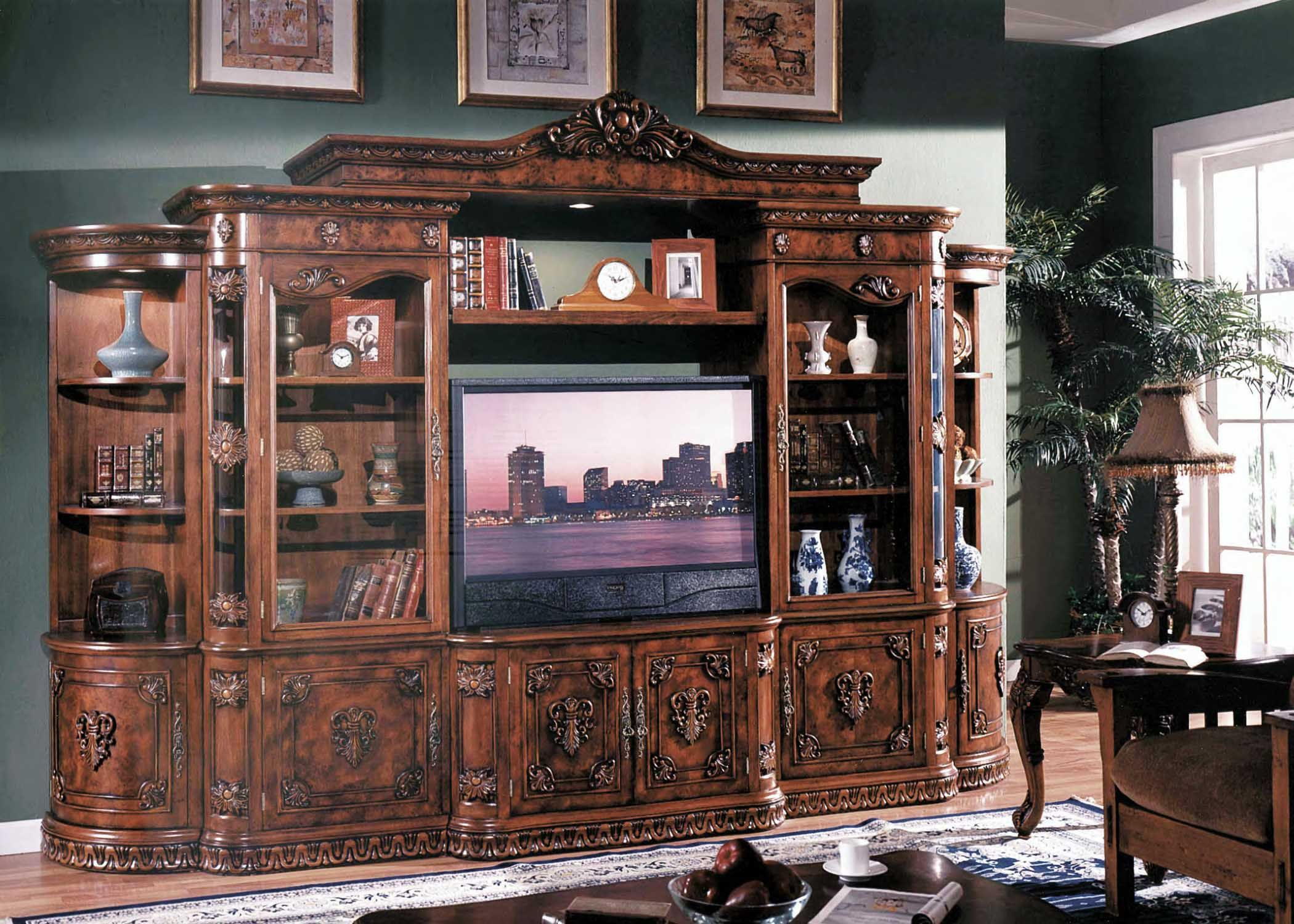 Awesome Antique Entertainment Centers For Flat Screen Tvs With Cly Cherry Ash Burl Finish Design