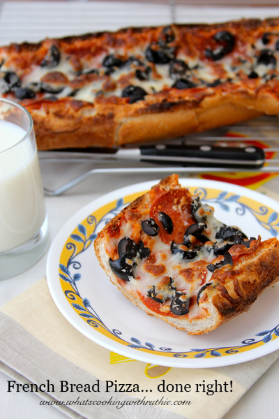 French Bread Pizza is super easy and cheap to make for a family fun dinner!  @whatscookingwithruthie.com #recipes #pizza