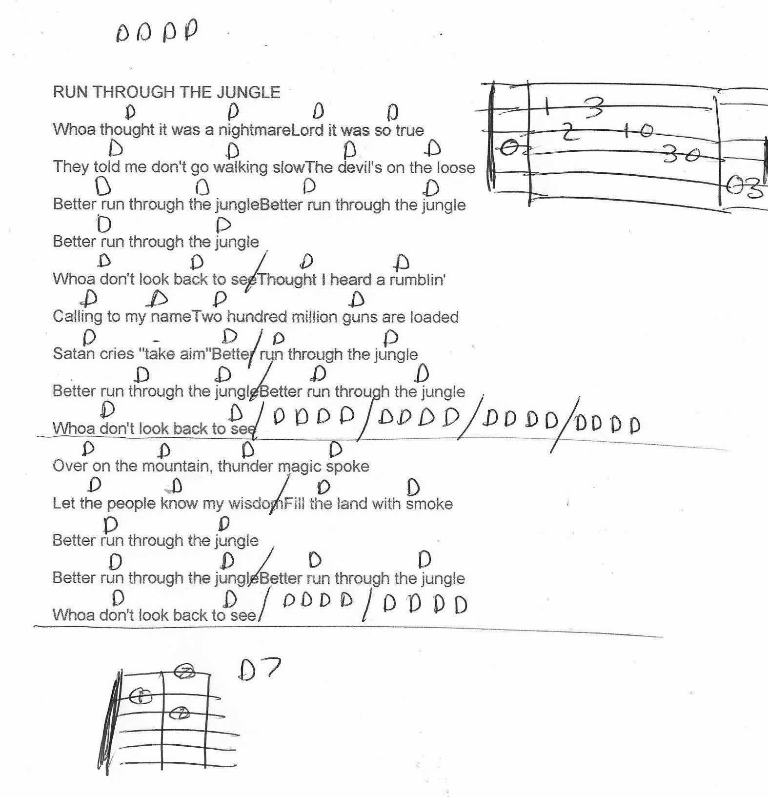 Run Through The Jungle Ccr Guitar Chord Chart Guitar Chord Chart Guitar Chords Easy Guitar Songs