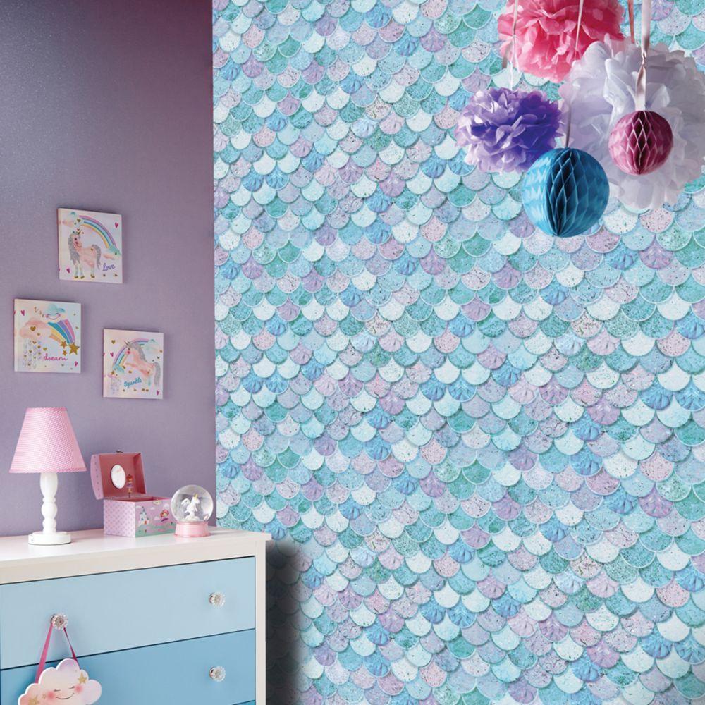Best Mermazing Mermaid Scales Glitter Wallpaper Arthouse 698305 400 x 300
