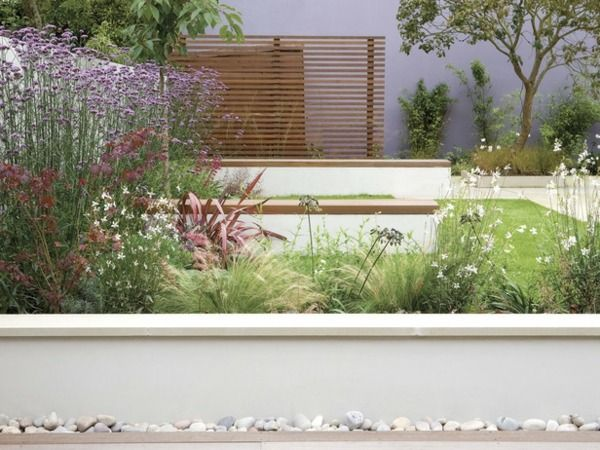 Beton Stützmauer Garten Gestaltung Blumen Garten + Vorgarten - gartengestaltung modern sichtschutz