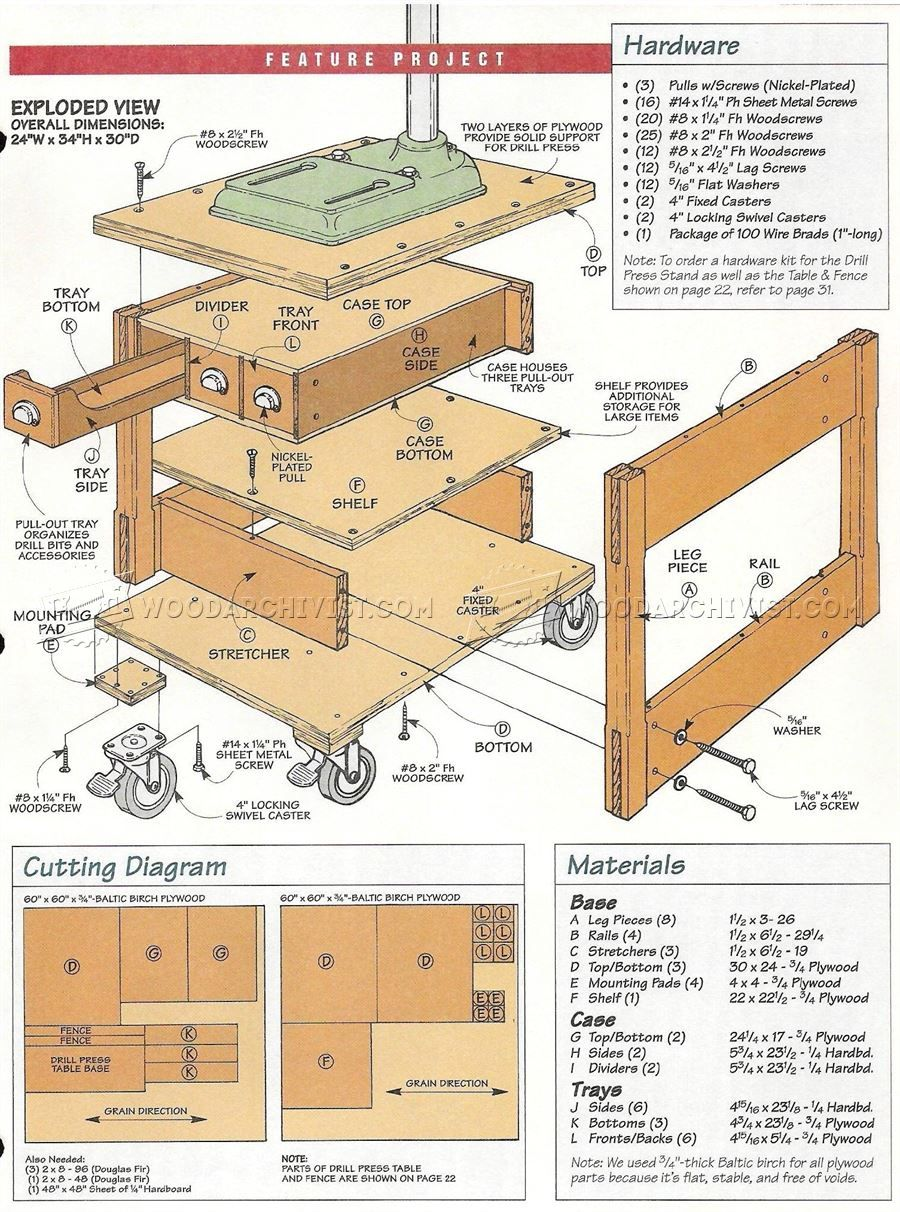3217 Mobile Drill Press Stand Plans Drill Press Woodworking