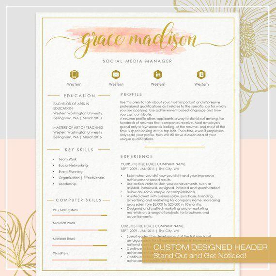 Resume Template CV Template for MS Word 4 Pack + social media