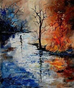 9. This painting uses complementary colors. The complementary colors create a balance in a work. Although they are very different, they go together and make it pleasing to the eye.
