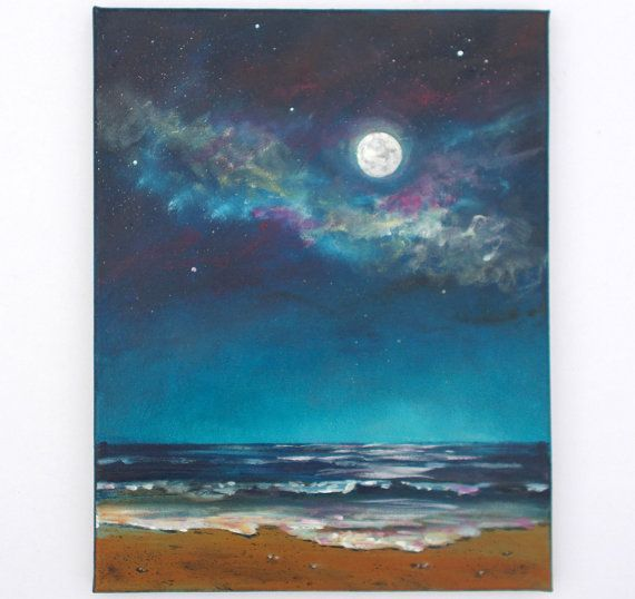 Full Moon Night Sky Painting Seascape Ocean Moon Painting 11x14 With Glow In The Dark Paint Glow Stars Night Sky Painting Moon Painting Sky Painting