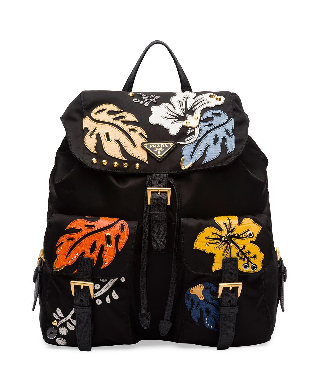 fa233b03bb4212 Prada Hawaiian Double-Pocket Backpack, Black (Nero) | *Luggage ...