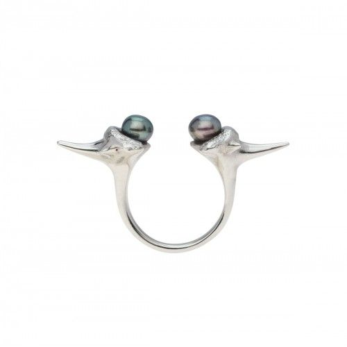Blacktip pearl ring-silver
