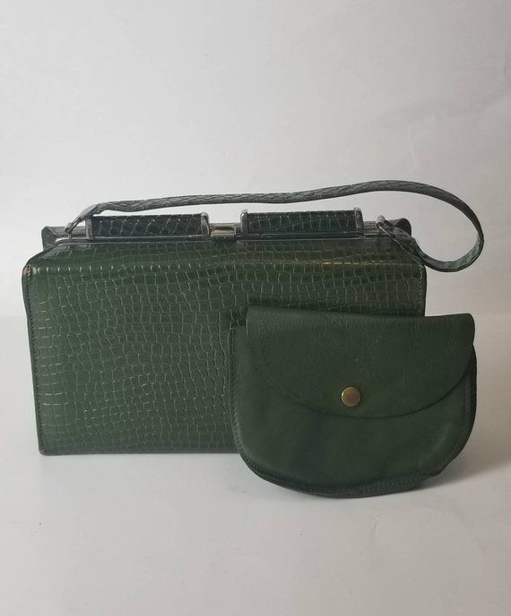 f4418d16a3a90f Vintage faux reptile skin handbag and matching leather change purse, with  fully lined vinyl interior #matchinghandbagandpurse