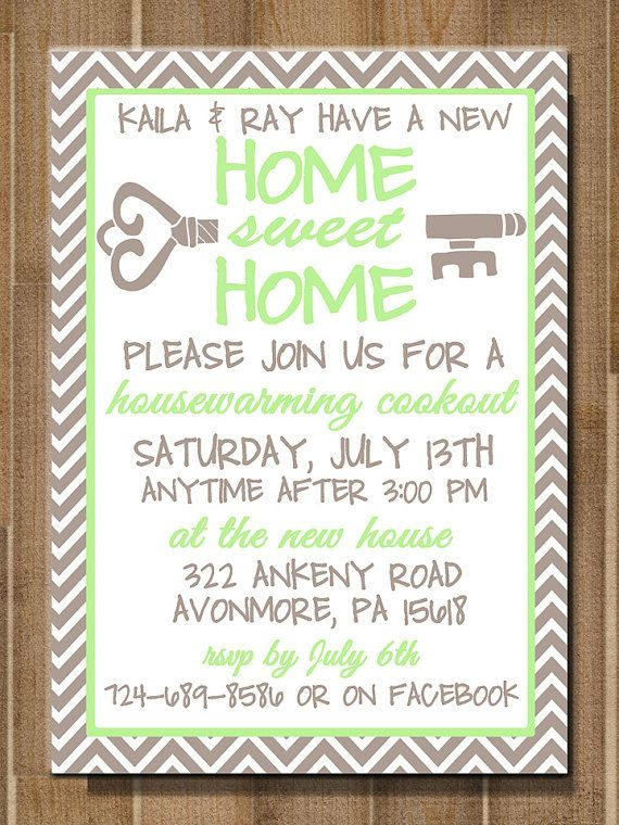 Printable Housewarming Invitation Home Sweet By Bluemoondesigns