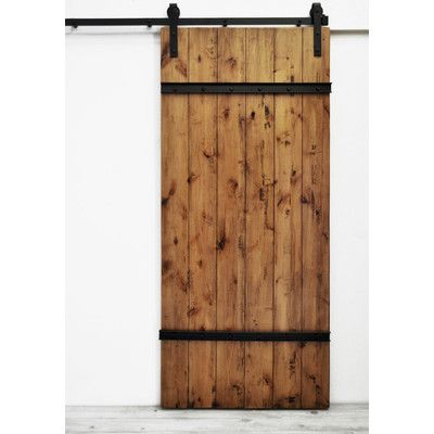 August Grove Celeste Wood 1 Panel Interior Barn Door Finish Aged Oak Stain Wood Doors Interior Barn Doors Sliding Interior Doors For Sale