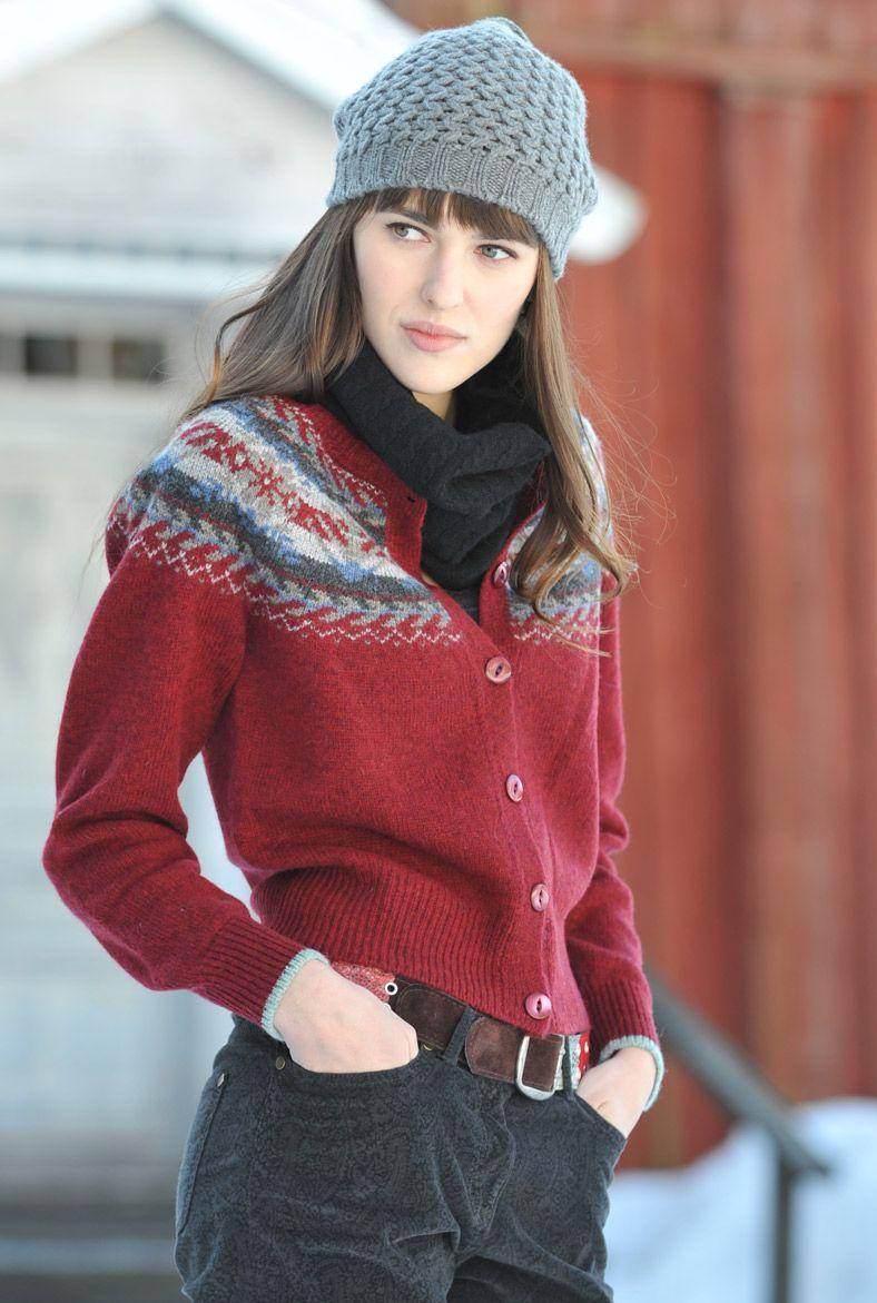Fair Isle Cardigan Shetland Wool Brora Wear Knitwear