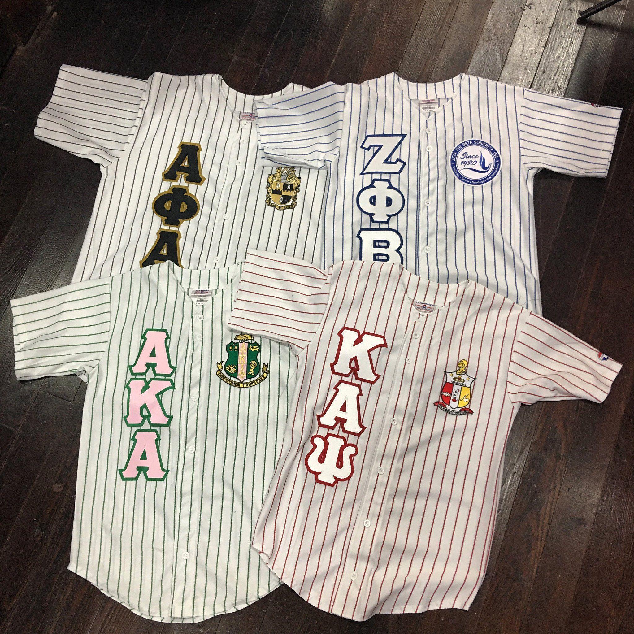 Sewn Letter Pinstripe Baseball Jersey In 2020 Sorority And Fraternity Alpha Phi Alpha Paraphernalia Alpha Fraternity