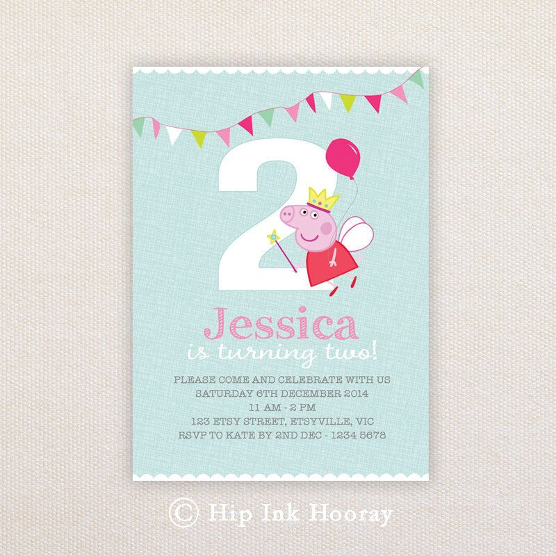 Birthday Party Invitations. Fairy Peppa Pig with balloon. I ...