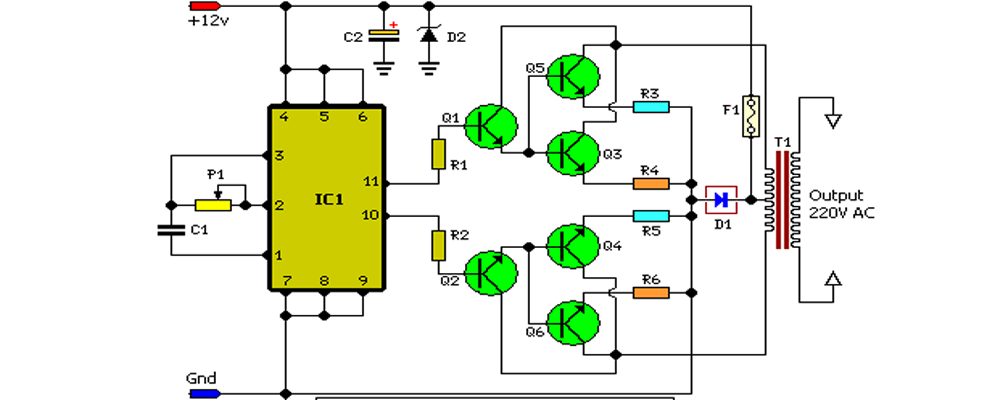 100W Inverter Circuit Schematic Circuit Diagram Free Electronics - Ups Inverter Wiring Diagram