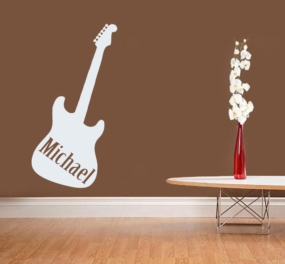 Guitar Wall Decal Boy Personalized Name Stickers Music Vinyl - Custom vinyl decals for guitars