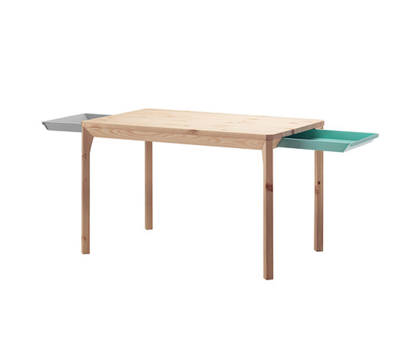 Table En Bois Tiroirs Colores Via Goodmoods Salle A Manger Ikea