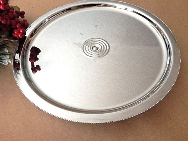 Silver Metal Tray Rotating Platter Lazy Susan Vintage 1970's Mod Serving Dish